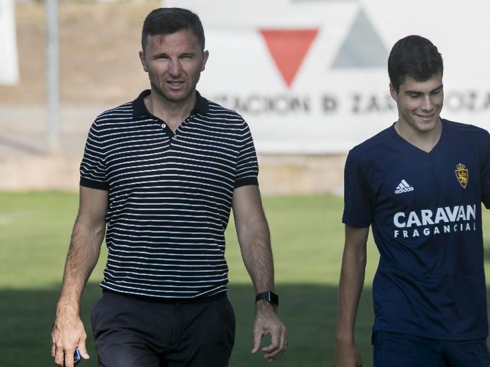 Lalo Arantegui y Alberto Soro, al inicio del entrenamiento del pasado viernes, previo al viaje a Reus.