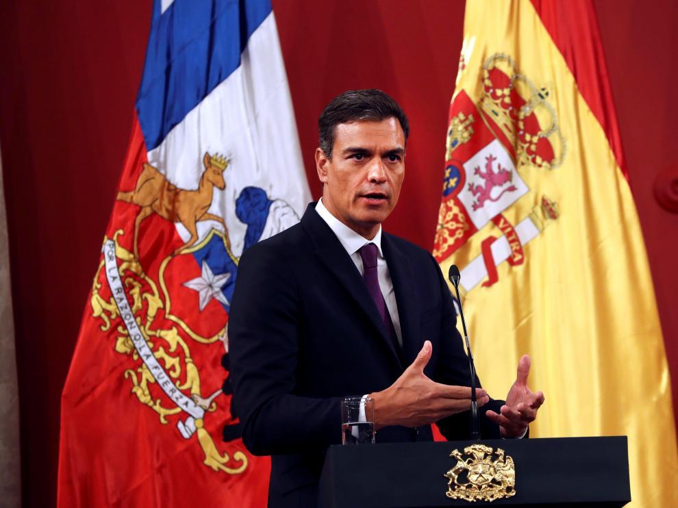 Pedro Sánchez, durante la rueda posterior al encuentro que ha mantenido con el presidente chileno, Sebastián Piñera.