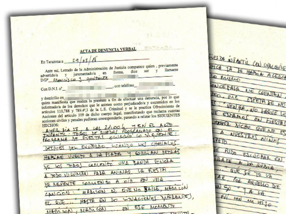 La denuncia fue presentada por un padre con vínculos familiares en Tarazona en el juzgado de instrucción de la localidad.