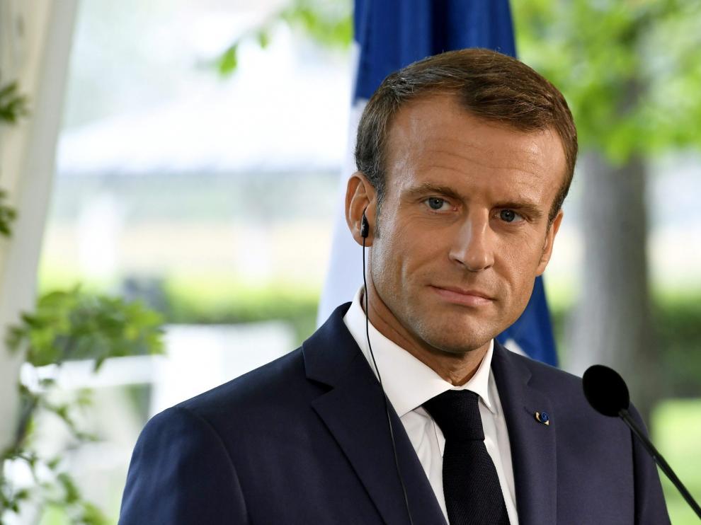 Emmanuel Macron, presidente francés, junto al que se participa en este proyecto.