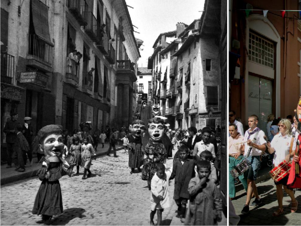 Fotografía tomada el 7 de septiembre de 1918 por Celestino López. La comparsa de cabezudos ayer, 100 años después por Macipe