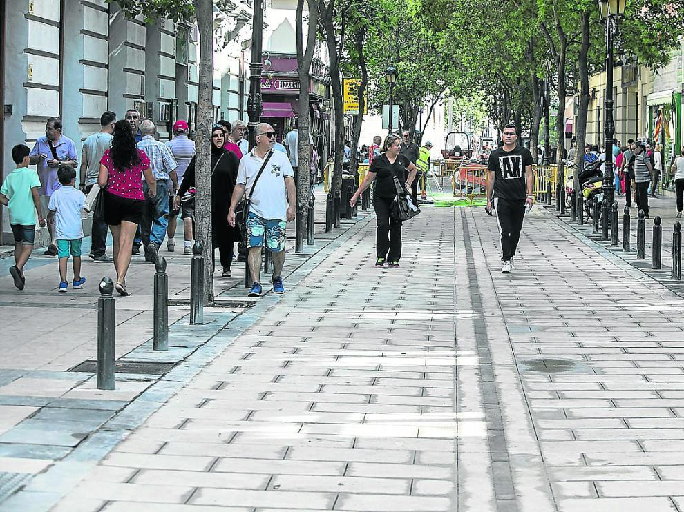 El tramo de Don Jaime I entre la calle Mayor y la de Santiago fue abierto este viernes para los peatones.