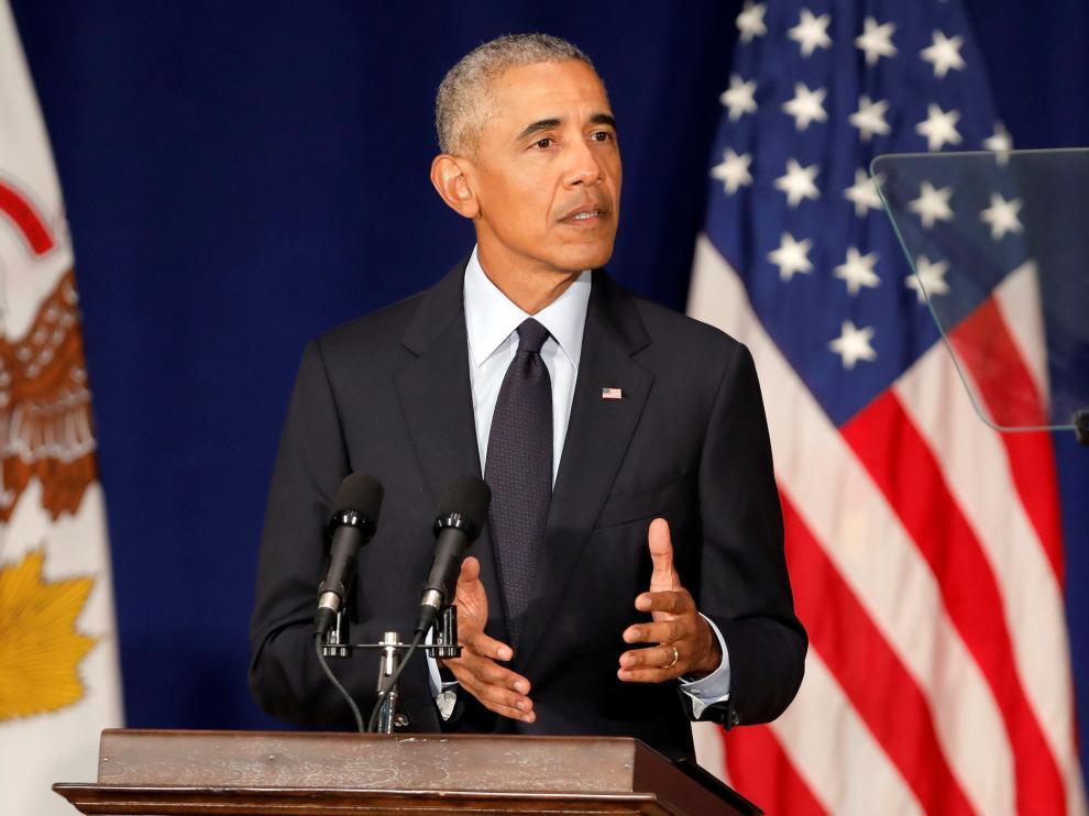 Barack Obama, durante un discurso en la Universidad de Illinois.
