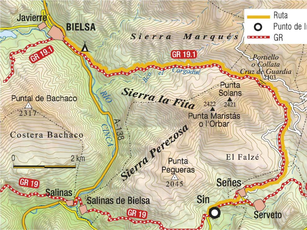 De Sin a Bielsa por la Cruz de Guardia, mapa