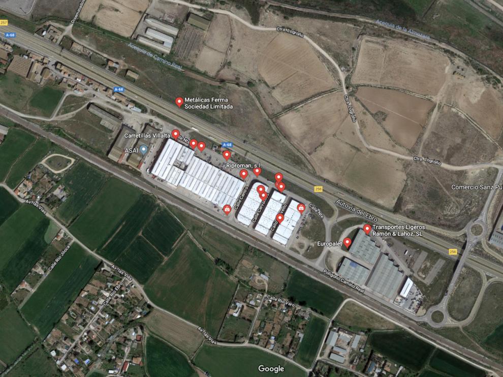Imagen de satélite del Polígono Tecnológico de Pinseque.