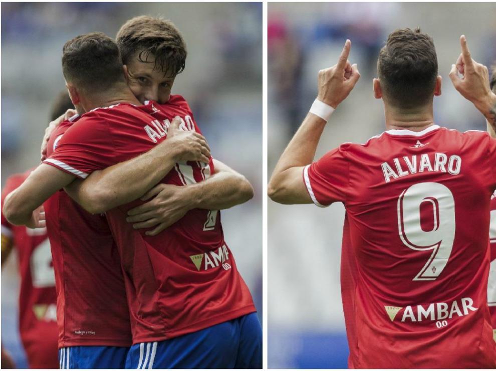 Dos momentos en los que Álvaro Vázquez celebra su gol en Oviedo (el 0-1) con Marc Gual.