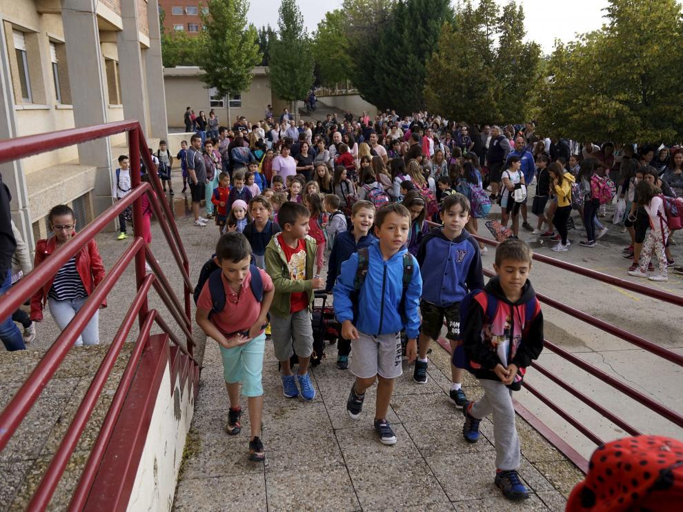 Primer día de colegio en el centro La Fuenfresca, en Teruel.