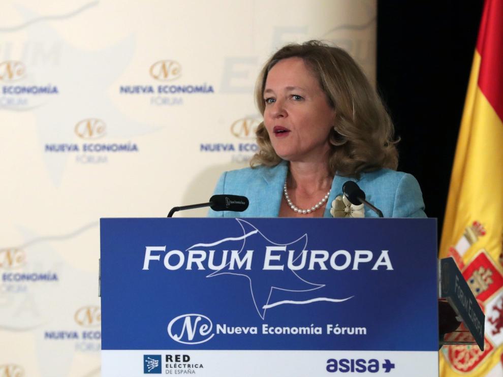 La ministra de Economía, Nadia Calviño, durante su intervención en un acto de Fórum Europa.