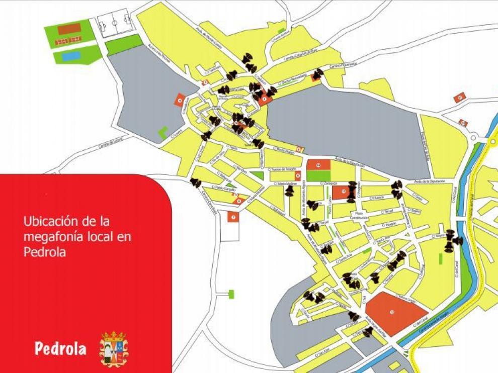 Mapa de megafonía de Pedrola.