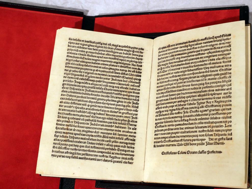 Carta de Cristóbal Colón en la que explicaba a los Reyes Católicos el descubrimiento del nuevo mundo.