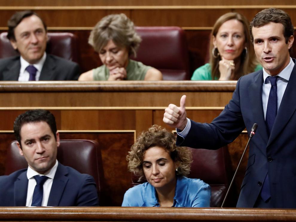 Pablo Casado, durante la sesión de control al Gobierno en el Congreso.