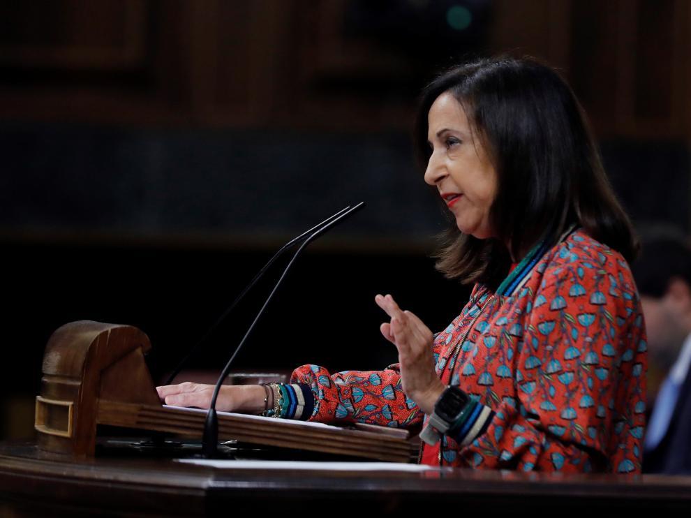Margarita Robles durante la sesión de control al Gobierno hoy en el Congreso.