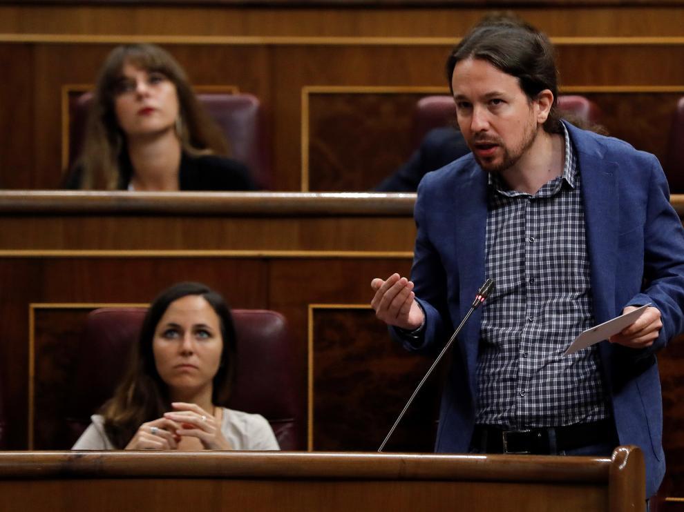 El secretario general de Podemos, Pablo Iglesias, en la sesión de control al Gobierno este miércoles.