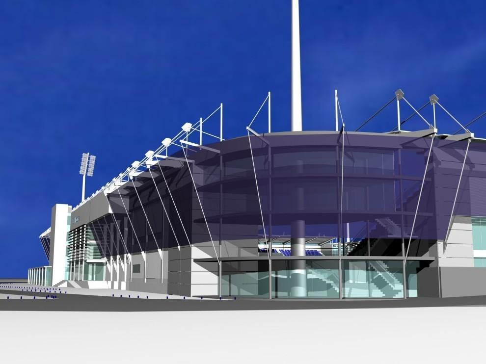 Recreación del nuevo estadio El Alcoraz de Huesca.