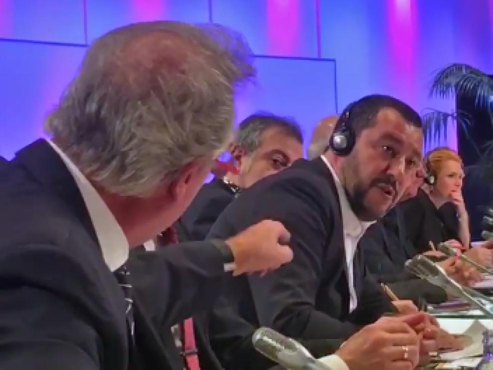 Jean Asselborn y Mateo Salvini, durante una sesión a puerta cerrada sobre migraciones y seguridad celebrada en Australia.