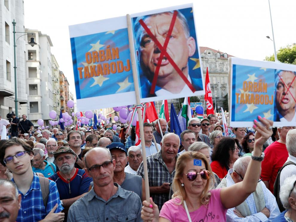 Protesta en las calles de Budapest
