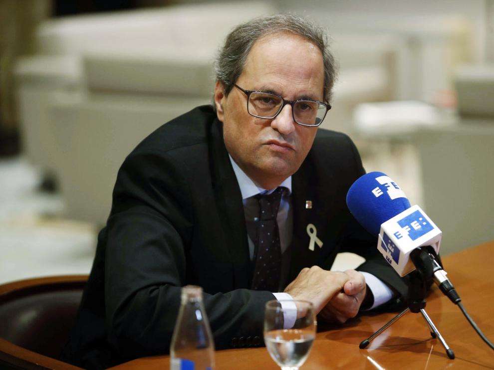 Quim Torra durante una entrevista en el Palau de la Generalitat.