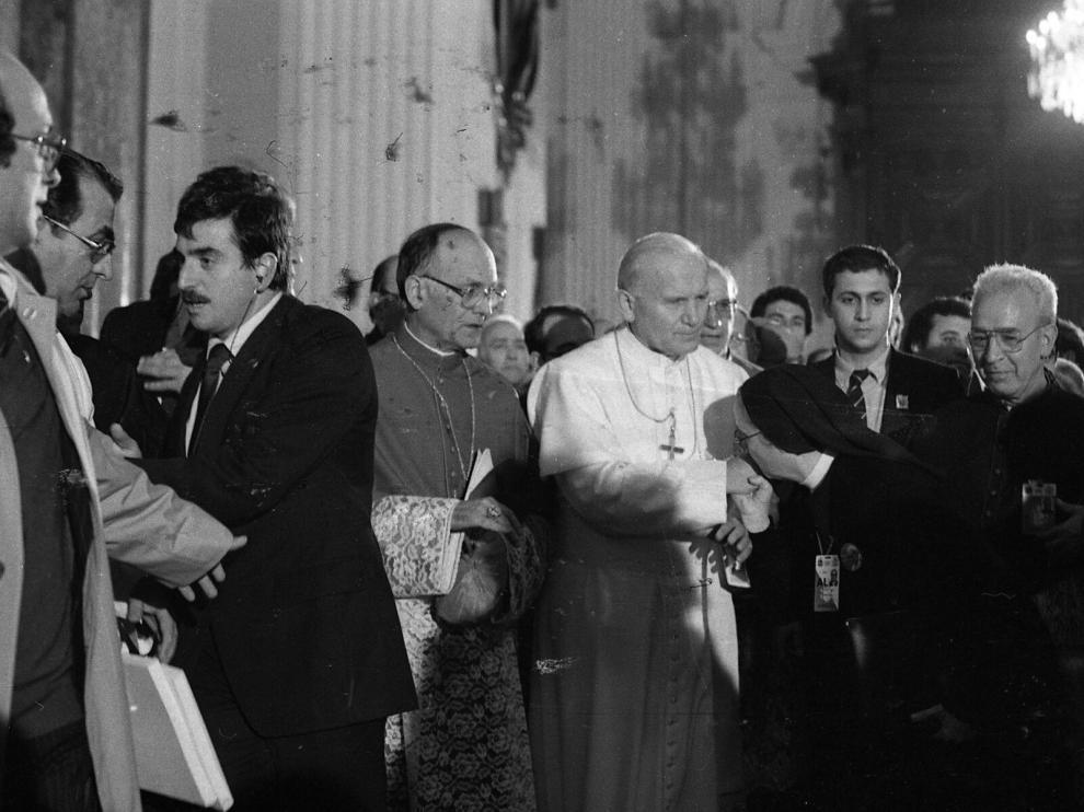 Visita del Papa Juan Pablo II a la basílica del Pilar en 1982