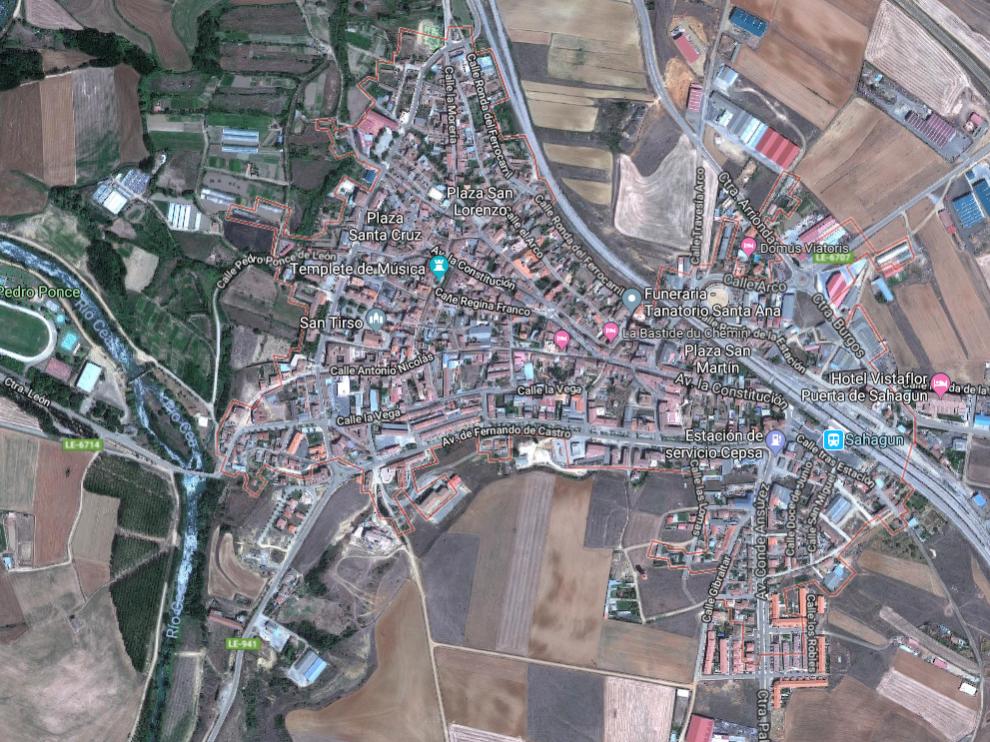 Imagen vía satélite de la localidad de Sahagún, donde ha ocurrido el apuñalamiento.