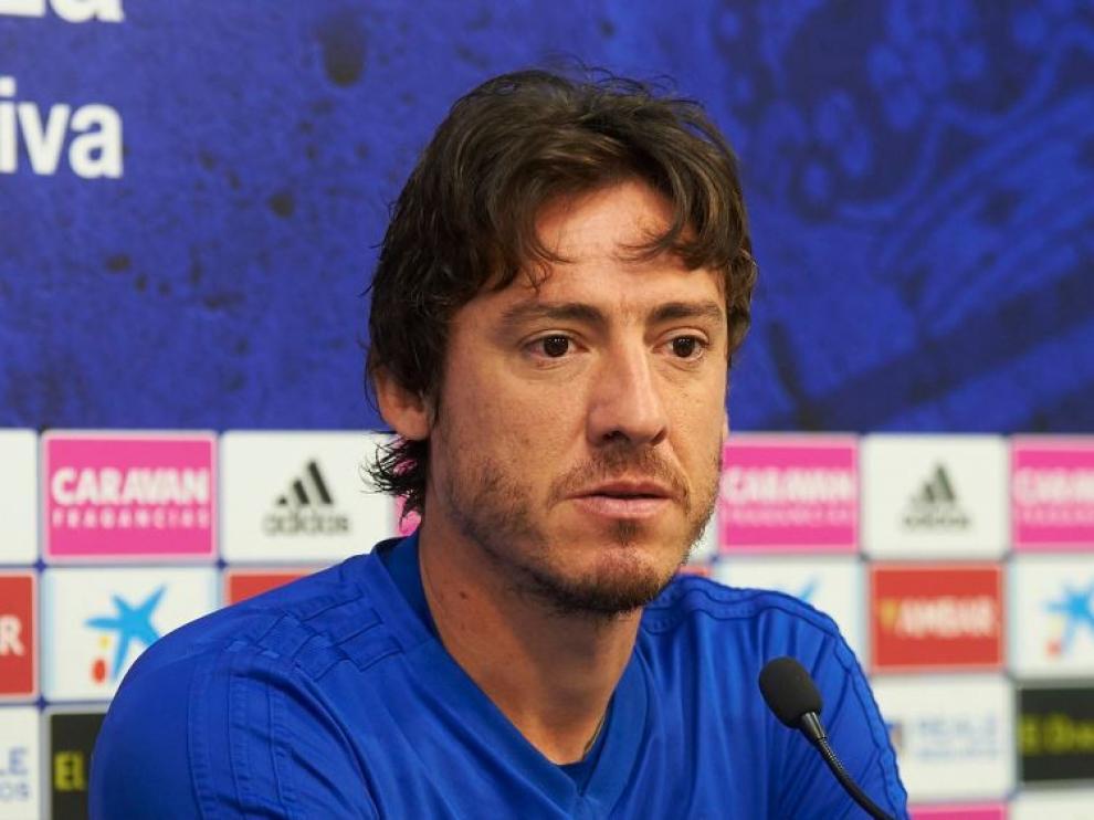 Cristian Álvarez, en la rueda de prensa de este viernes previo a jugar contra el Lugo.