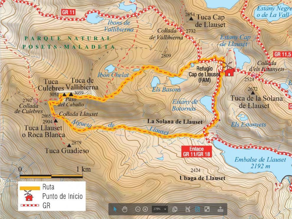 Mapa de la ruta a Vallibierna.