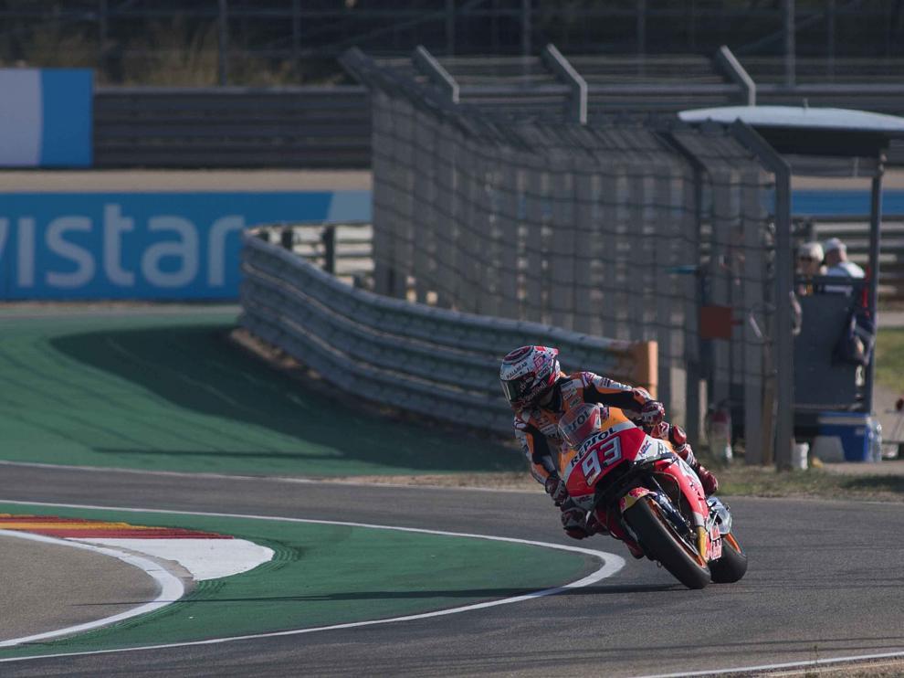 Márquez, en los entrenamientos en Motorland Alcañiz para el Gran Premio de Aragón de MotoGP.