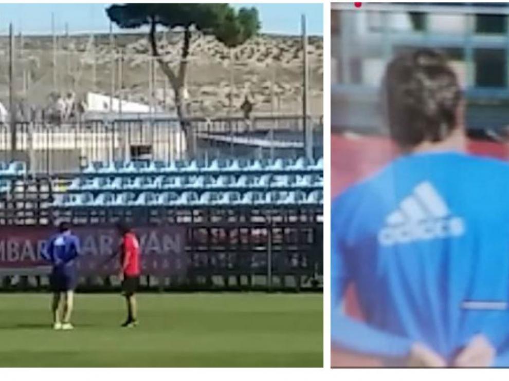 Dos capturas de vídeo del momento de la charla entre Idiakez y Cristian Álvarez esta mañana de domingo tras la derrota ante el Lugo.