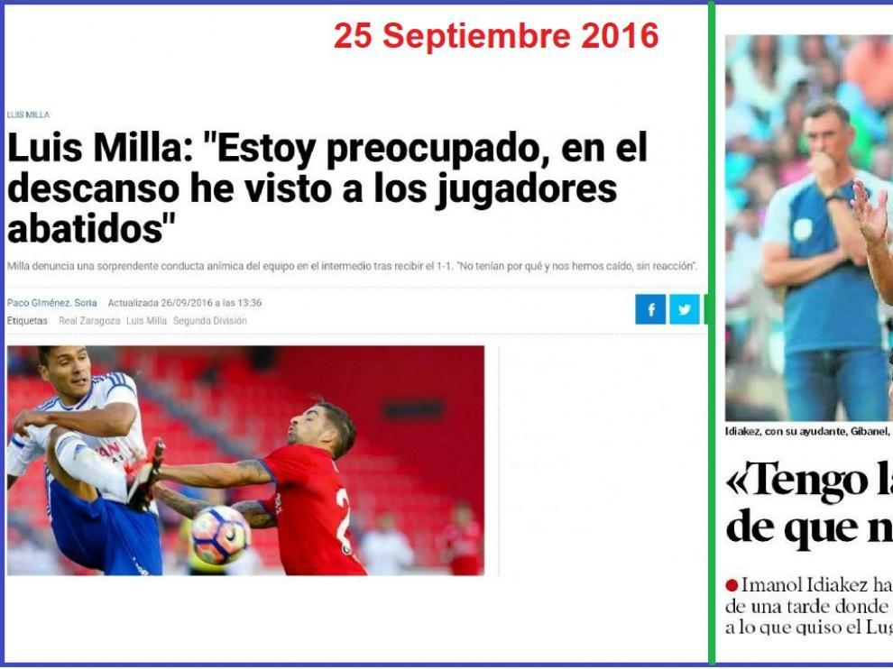 Reseñas de Heraldo de Aragón de las ruedas de prensa de Milla, hace dos años en Soria, y la de Idiakez, este sábado en La Romareda.