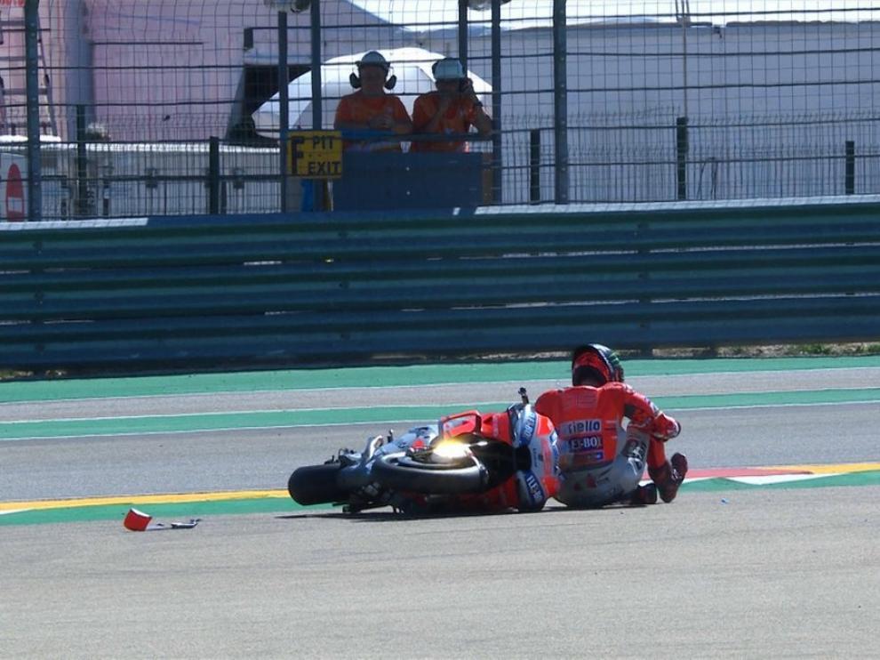 Lorenzo tras su caída en Motorland.