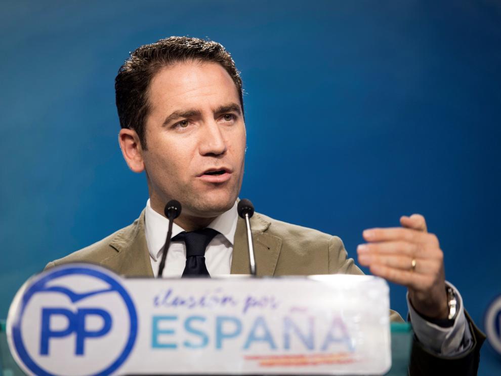 El secretario general del PP, Teodoro García Egea, durante la rueda de prensa celebrada en la sede del PP en Madrid.