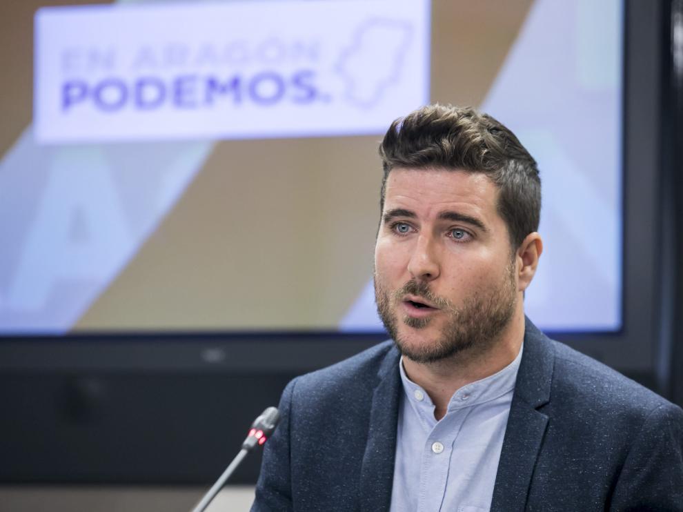 Rueda de prensa el secretario general de Podemos Aragón, Nacho Escartín