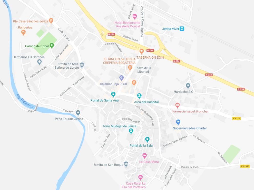 Localidad de Jérica desde Google Maps.