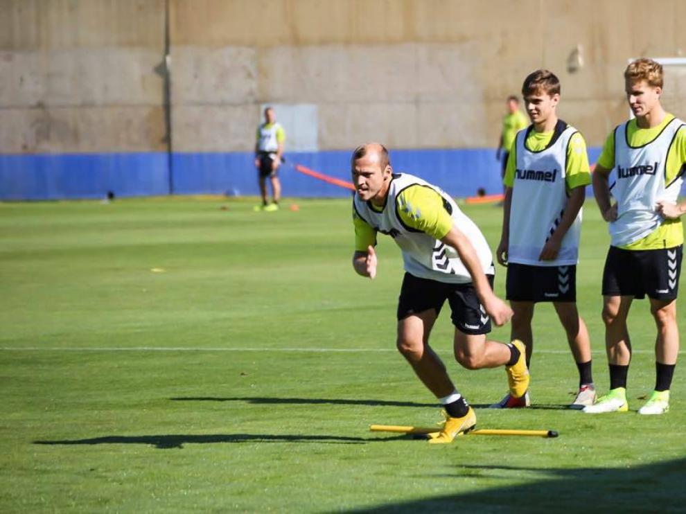 Zozulya, Febas y Susaeta en un entrenamiento del Albacete.