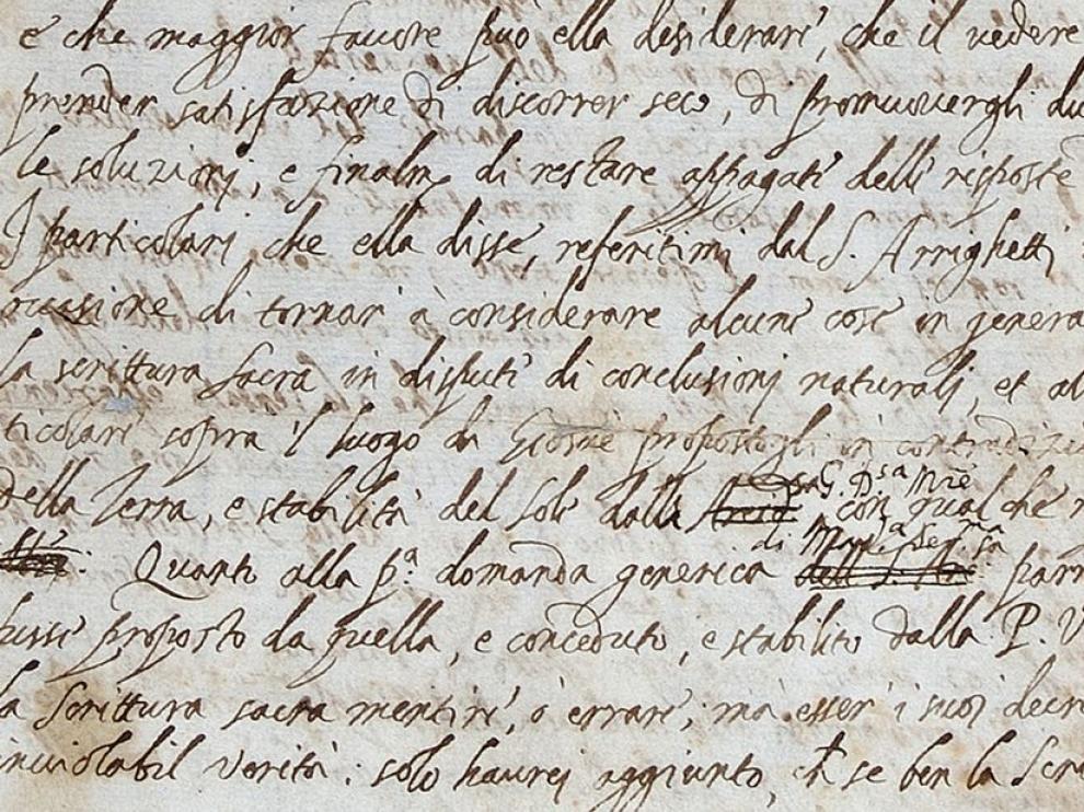 Carta atribuida a Galileo que ha sido hallada en una biblioteca de la Royal Society británica.