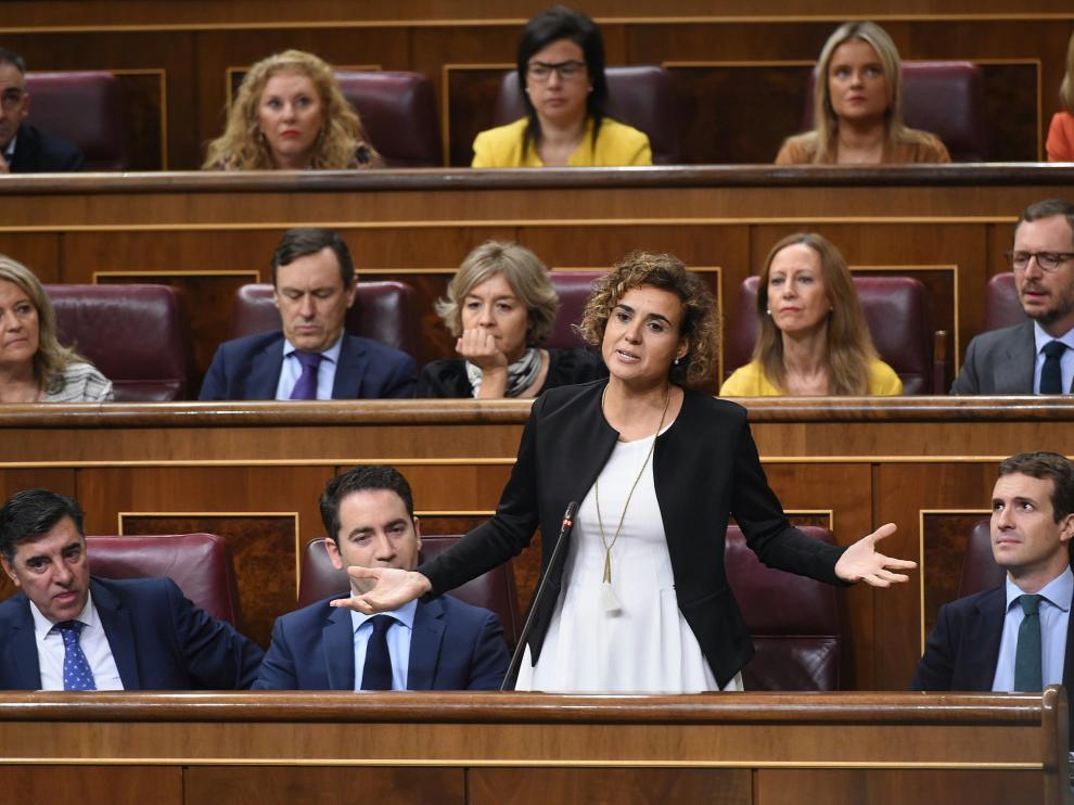 Dolors Montserrat durante su intervención de este miércoles en el Congreso de los Diputados.