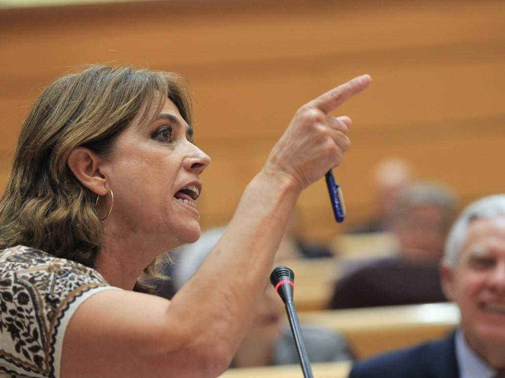 La ministra de Justicia, Dolores Delgado, en una intervención en el Senado