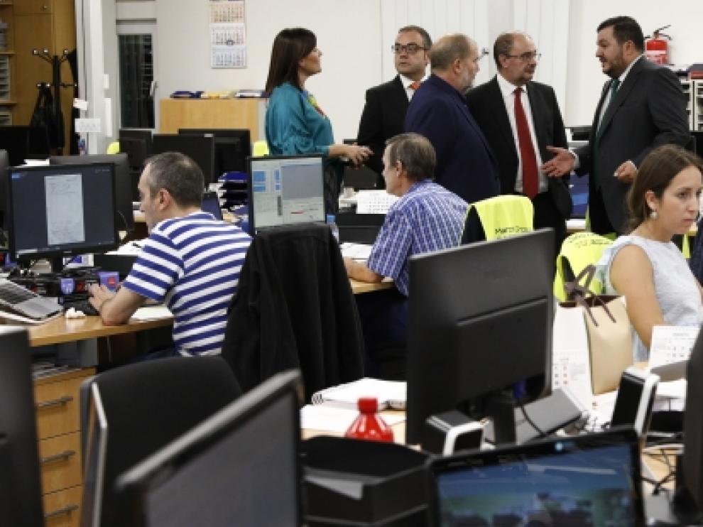 El Presidente de Aragón, Javier Lambán, asiste a la inauguración de las nuevas instalaciones de Marcotran.