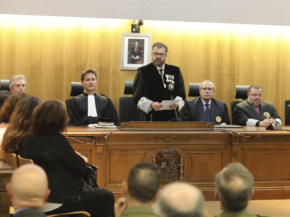 Santiago Serena, durante su discurso en el acto de apertura del año judicial en Huesca