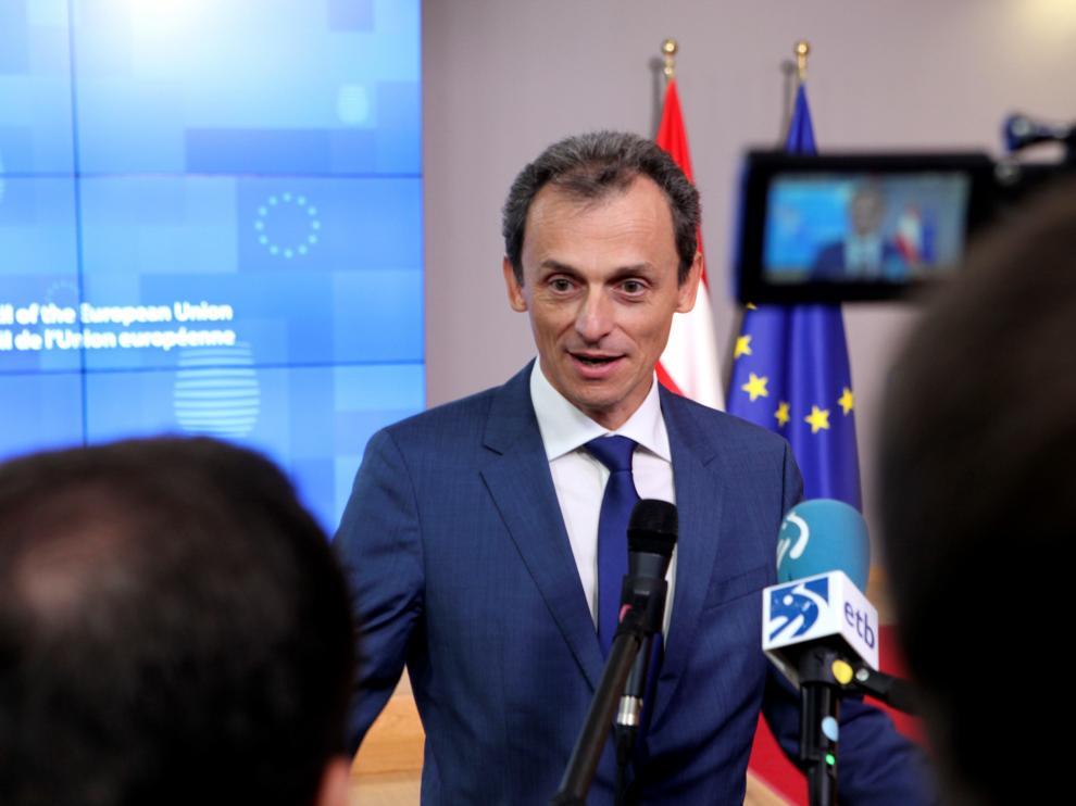 Pedro Duque en la reunión de este viernes del Consejo de Competitividad de la Unión Europea.