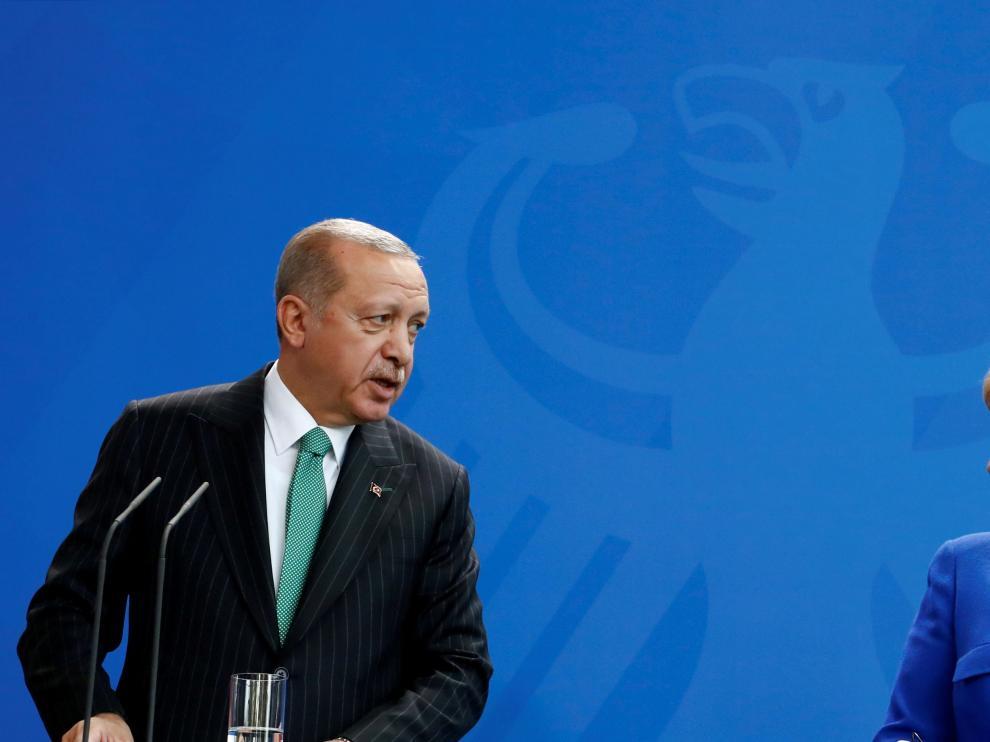 Los dos presidentes durante la rueda de prensa en Berlín.