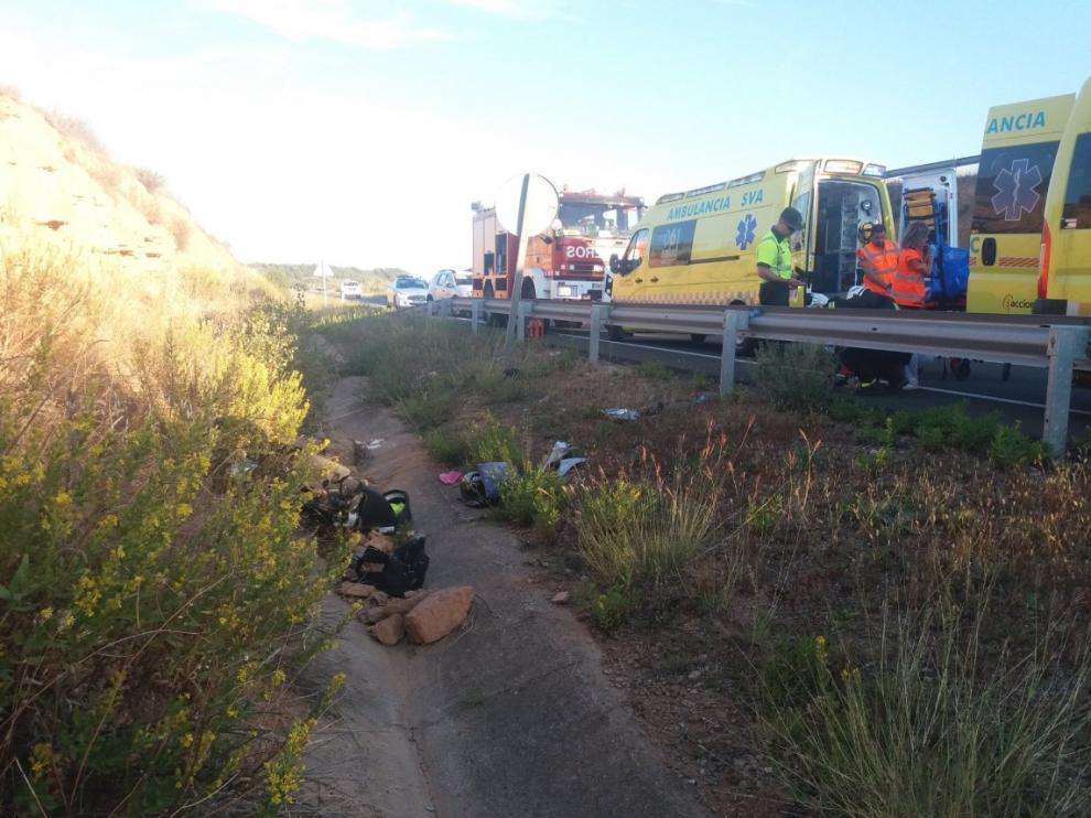 Accidente ocurrido en Aler, en el que se ha visto implicado un ciclomotor.