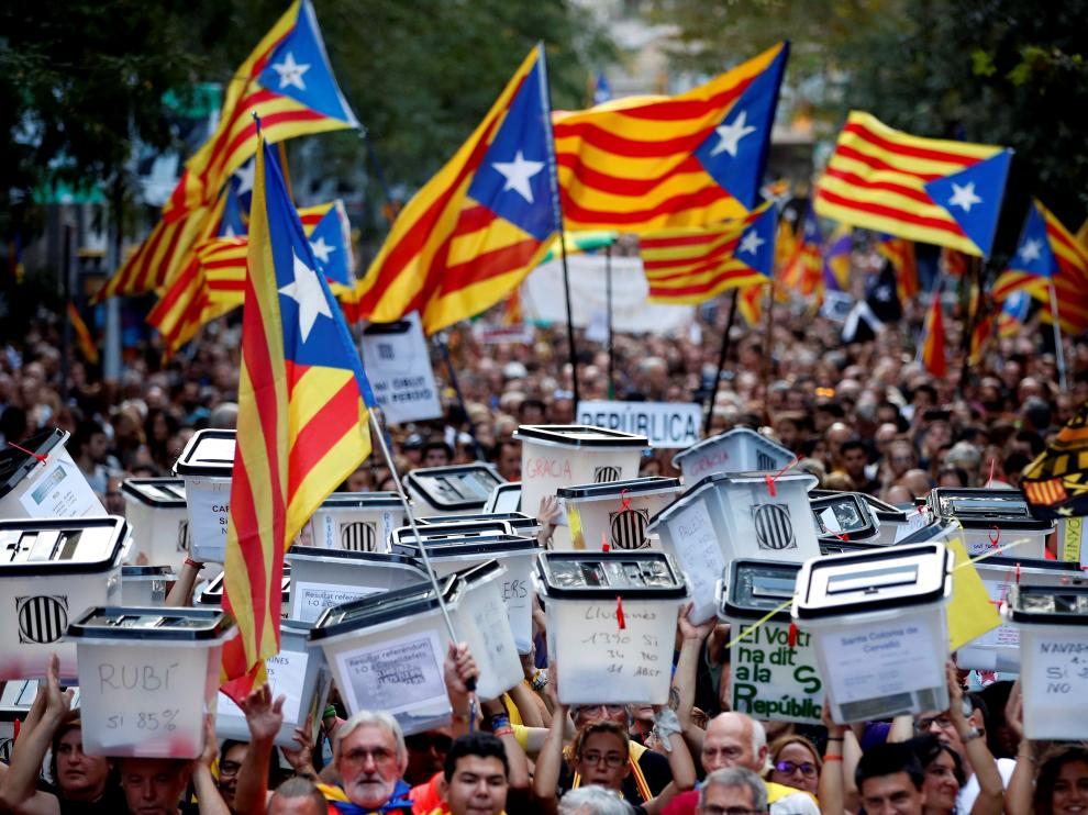 Imagen de archivo de una manifestación independentista en Cataluña.