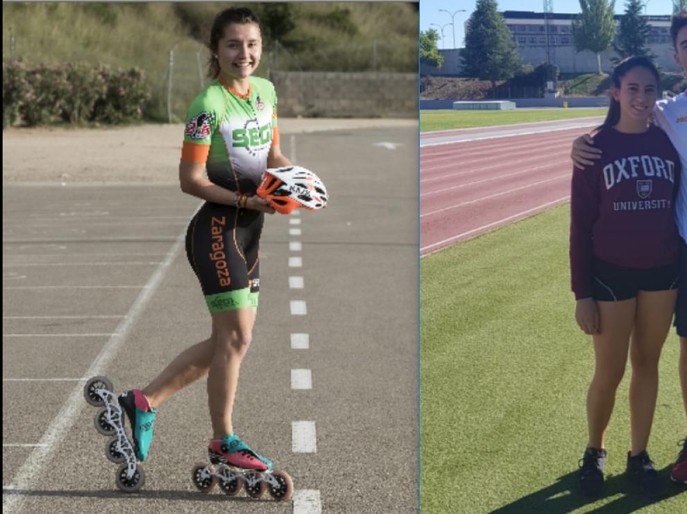 La patinadora Nerea Langa, la velocista Laura Pintiel y el mediofondista Pol Oriach