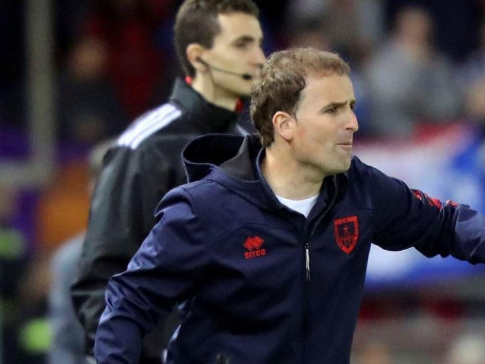 Jagoba Arrasate, el 9 de junio, en el partido Real Zaragoza-Numancia de la promoción de ascenso, que ganaron los sorianos 1-2 contra pronóstico para eliminar a los aragoneses de su lucha por llegar a Primera División.