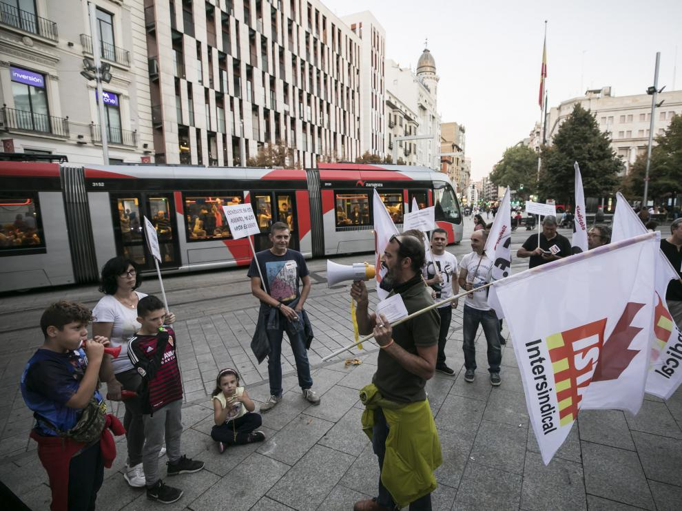 Protesta de los trabajadores del tranvía