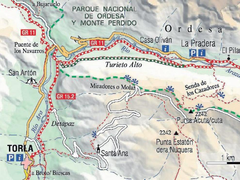 Mapa senderos Turieto.