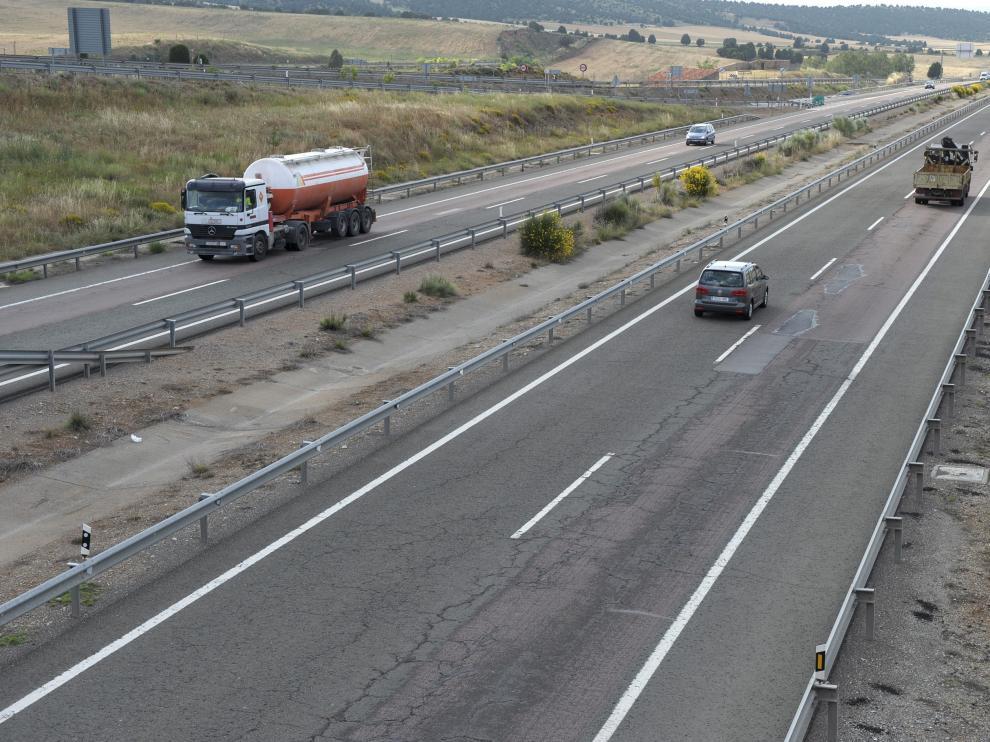 La autovía Mudéjar, en la foto, era utilizada por una trama para el transporte en camiones de inmigrantes con destino a Reino Unido e Irlanda.