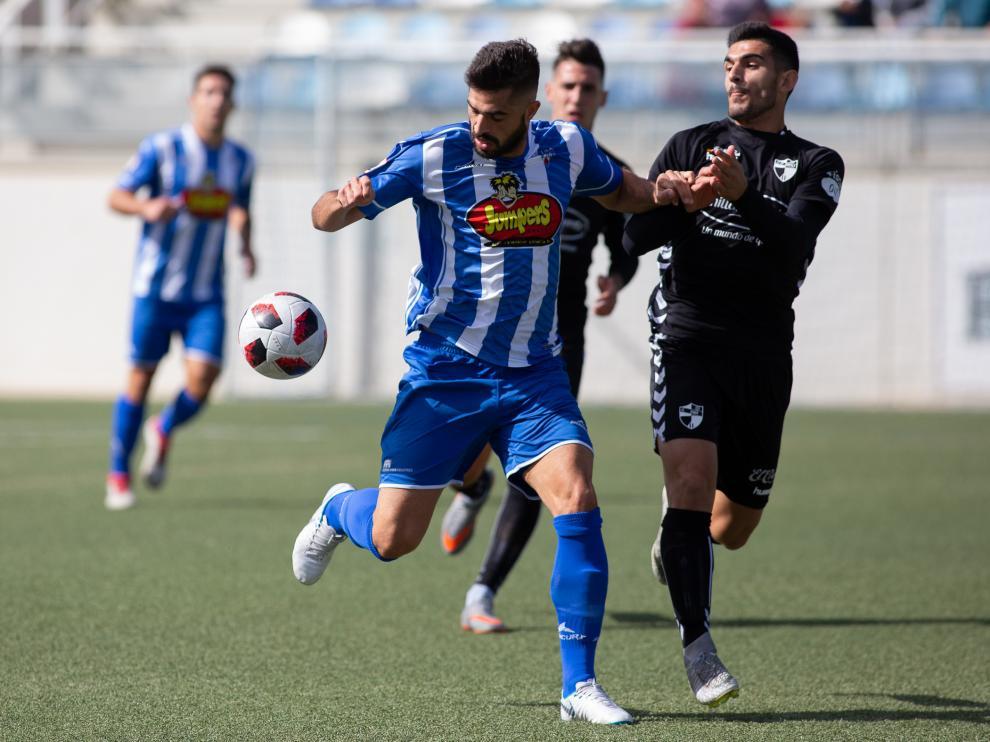Imagen del partido disputado en la primera vuelta de Segunda B- Ejea vs. Ebro.