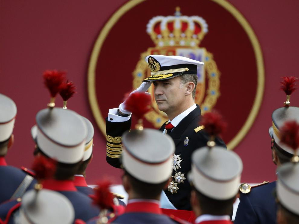 El Rey, en una edición anterior del desfile de las Fuerzas Armadas.