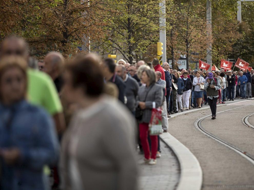 Manifestación de pensionistas el pasado 1 de octubre en Zaragoza